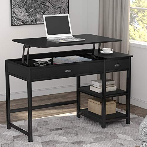 Tribesigns Modern Lift Top Computer Desk with Drawers, 47 inch Writing Desk Study Table Workstation with Storage Shelves, Height Adjustable Standing Desk for Home Office, Small Spaces(Black)