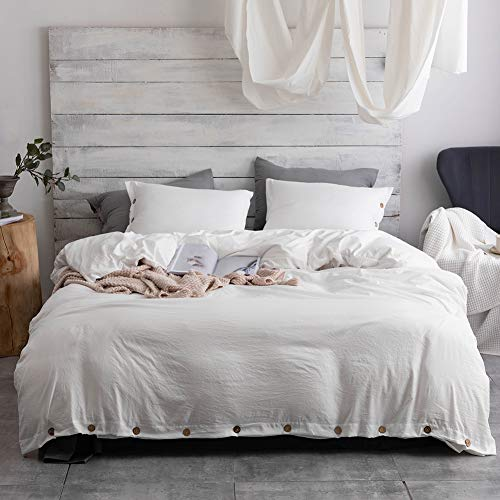 Argstar 3 Pcs 100% Microfiber Solid Color Duvet Cover King with Buttons, Washed Cotton Effect, White