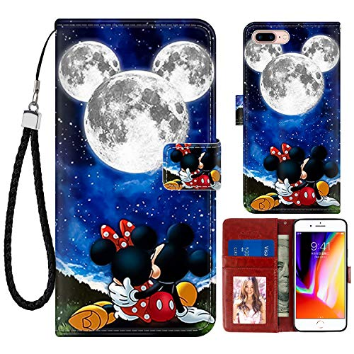 DISNEY COLLECTION Wallet Case for iPhone 7/8 Plus 5.5 Inch Mickey and Minnie are Dating Pattern Magnetic Closure with Kickstand Folio Flip Cover with Card Holder and Wrist Strap Protective Cover