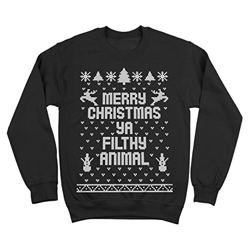 Ya Filthy Animal Merry Christmas Ugly Christmas Sweater Contest Party Mens Sweatshirt X-Large Black