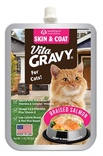 VitaGravy Skin and Coat Supplement, Delicious Braised Salmon Flavor – For Cats of All Ages and Sizes – 11 Ounce, up to 44 Servings