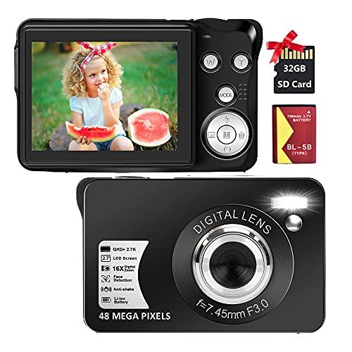 Digital Camera 2.7K 48 Mega Pixels 2.7 Inch HD Camera Rechargeable Mini Camera Students Camera Pocket Camera Digital Camera with 16x Digital Zoom Compact Camera for Beginner(32GB SD Card Included)