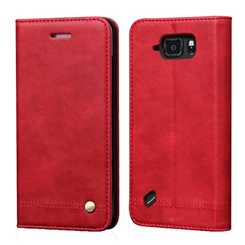 Galaxy S6 Active Case[Not for Galaxy S6],RUIHUI Luxury Flip Leather Wallet Shockproof Protective TPU Bumper Case with Magnetic Closure,Card Slots and Kickstand for Samsung Galaxy S6 Active(Red)