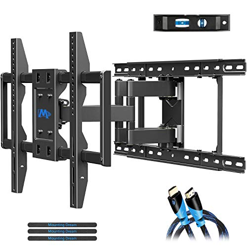 Mounting Dream TV Wall Mounts TV Bracket for 42-70 Inch TVs, Premium TV Mount, Full Motion TV Wall Mount with Articulating Arms, Max VESA 600x400mm and 100 LBS, Fits 16', 18', 24' Studs MD2296-24K