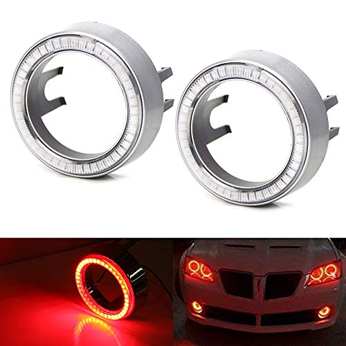 iJDMTOY One Pair Brilliant Red 40-SMD LED Halo Ring Angel Eyes Shrouds For Fog Light Customization or Headlight Retrofit DIY Use