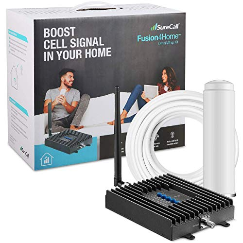 SureCall Fusion4Home Cell Phone Signal Booster for Home and Office   Verizon, AT&T, Sprint, T-Mobile 3G, 4G and LTE   Covers up to 2000 sq ft, Fusion4Home Omni/Whip (SC-PolyH-72-ORA-Kit)