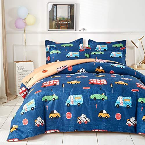Uozzi Bedding Twin Cars Comforter Set with Traffic Lights Navy 100% Microfiber Boys Duvet Insert 68x88 Kids Bedding Set
