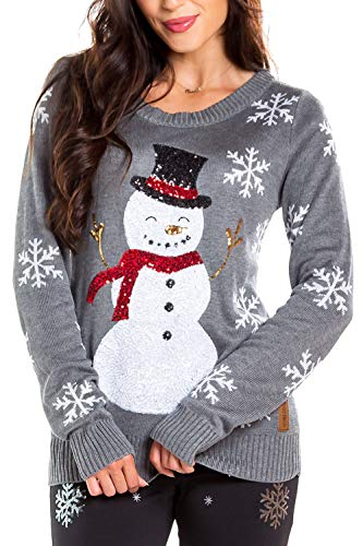 Women's Sequin Snowman Christmas Sweater - Gray Snowflake Embellished Christmas Sweater (4XL)