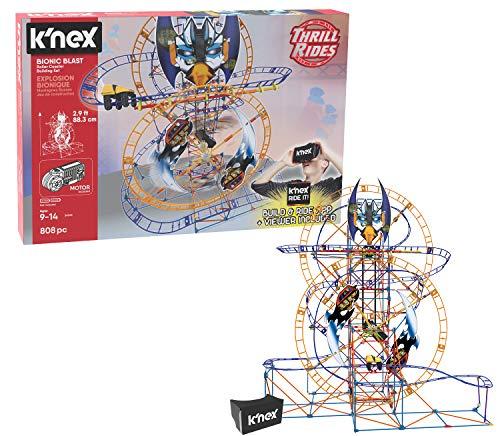 K'NEX Thrill Rides – Bionic Blast Roller Coaster Building Set with Ride It! App – 809Piece – Ages 9+ Building Set