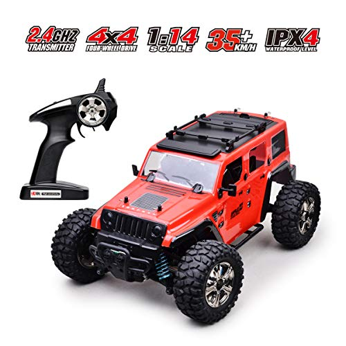 RC Cars Off-Road Remote Control Car 4WD 2.4Ghz Radio RC Rock Racer Electric Car 1/14 Scale RTR Hobby Toy, Remote Control Trucks High Speed Racing Monster