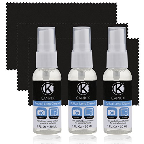 CamKix Lens and Screen Cleaning Kit - 3X Cleaning Spray, 3X Microfiber Cloth - Perfect to Clean The Lens of Your DSLR or GoPro Camera - Also Great for Your Smartphone, Tablet, Notebook, etc.