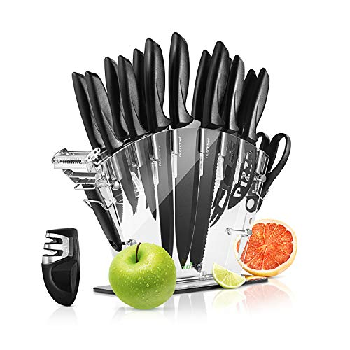 17 Piece Kitchen Knife Set - Stainless Steel Kitchen Precision Knives Set w/ 6 Steak Knives & Bonus Sharpener, Scissors, Peeler, Acrylic Block Stand - Slicing, Chopping, Dicing - NutriChef NCKNS17