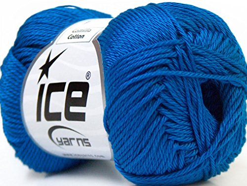 Lot of 6 Skeins Ice Yarns CAMILLA COTTON (100% Mercerized Cotton) Yarn Blue
