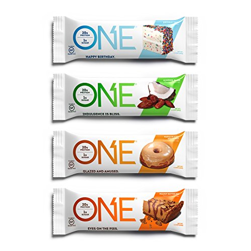 ONE Protein Bars, Best Sellers Variety Pack, Gluten Free 20g Protein and only 1g Sugar, Birthday Cake, Almond Bliss, Maple Glazed Doughnut & Peanut Butter Pie, 2.12 oz (12 Pack)