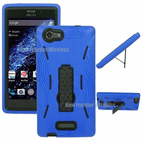 BLU Life One XL (X030Q) Premium Rugged Heavy Duty Kickstand Case + Screen Protector (HVD Blue)