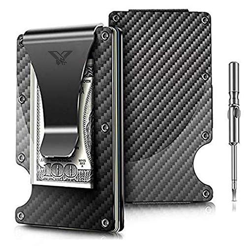"Minimalist Carbon Fiber Slim Wallet | RFID Blocking Front Pocket Wallet | Carbon Fiber Money Clip | Credit Card Holder for Men and Women | The Perfect Gift ""Money Clip"" 