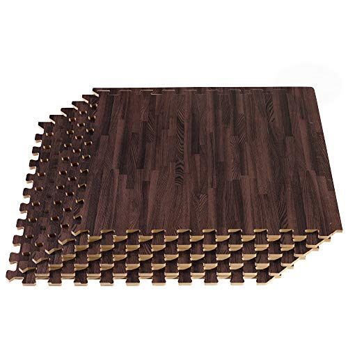 Forest Floor Thick Printed Foam Tiles, Premium Wood Grain Interlocking Foam Floor Mats, Anti-Fatigue Flooring, 3/8' Thick, 48 Square Feet (12 Tiles), Cherry