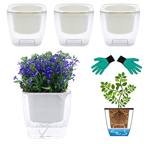 DeEFL 3 Packs 7 Inches Clear Self Watering Planters Plastic Self Watering Pots Wick Flower Pots for Indoor Plants, African Violet, Ocean Spider Plant, Orchid, Clear and White
