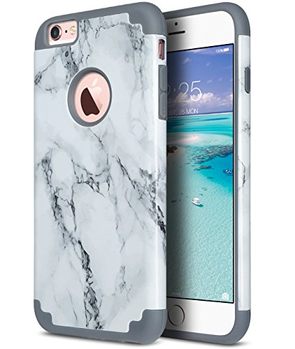 ULAK iPhone 6 Plus Case, iPhone 6S Plus Case, Slim Dual Layer Soft Silicone and Hard Back Cover Anti Scratches Bumper Protective Cover for Apple iPhone 6 Plus / 6S Plus 5.5 inch (Marble Pattern)