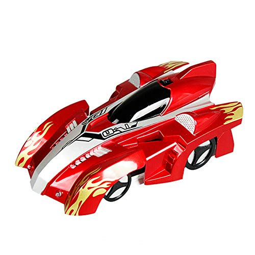 Remote Control Car,Radio RC Wall Climbing Car with LED Lights - 360°Rotating Stunt, Rechargeable, Low Power Protection - RC (red , OneSize)