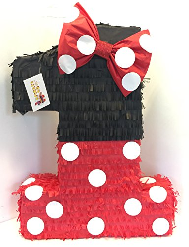 APINATA4U Large Black & Red Number One Pinata with Bow