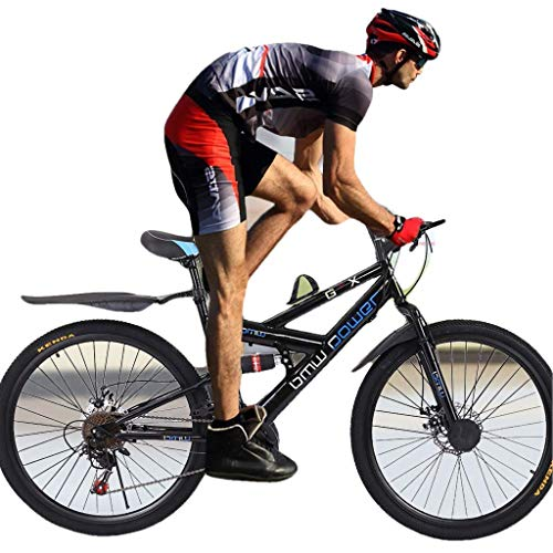 Adult Cruiser Bike 26in Bicycle Fashion Bike Carbon Steel Mountain Bike 21 Speed Bicycle Full Suspension MTB Outdoor Bike (Black)