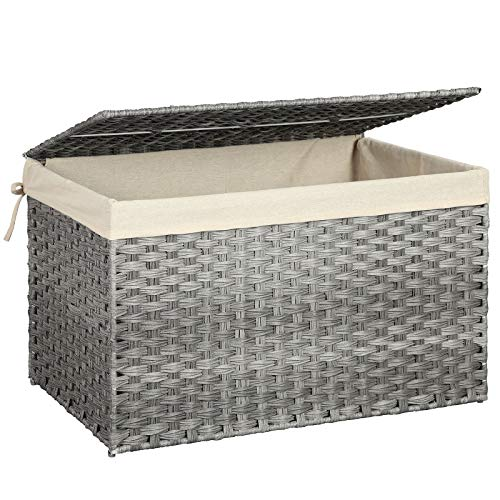 SONGMICS Storage Box with Cotton Liner, Rattan-Style Storage Basket, Storage Trunk with Lid and Handles, for Bedroom Closet Laundry Room, Gray URST76WG