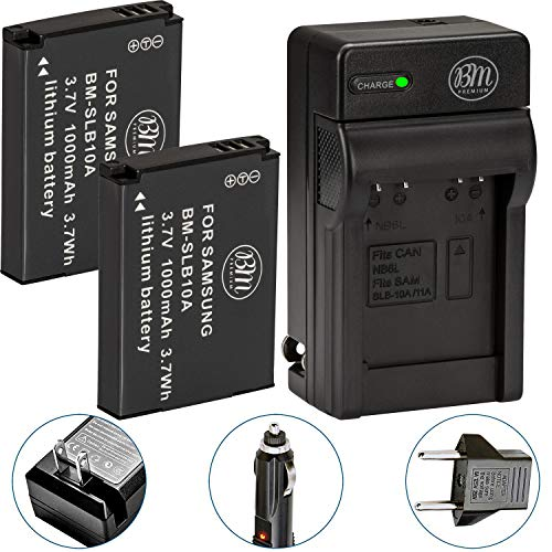 BM Premium Pack of 2 SLB-10A Batteries and Battery Charger for Samsung EX2F HZ15W SL202 SL420 SL620 SL820 WB150F WB250F WB350F WB750 WB800F WB850F WB1100F Digital Cameras