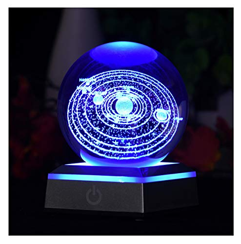 Aircee 3D Model of Solar System Crystal Ball, with Led Lamp Stand, Galaxy Glass Ball, 6 Colors Light, Great Gifts, Educational Toys, Home Office Decor, Planets Sphere with Gift Box