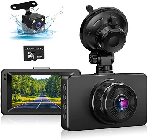 Dash Cam Front and Rear, Dash Camera for Cars 1080P Full HD Dual Dash Cam 3' IPS Screen in Car Camera Front and Rear Night Vision,170°Wide Angle Motion Detection Parking Monitor G-Sensor(with SD Card)