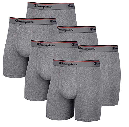 Champion Men's 6 Pack Smart Temp Boxer Brief - New 6 Value Pack (Large, Grey)