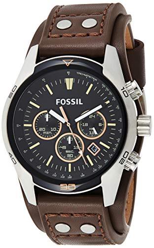 Fossil Men's Coachman Quartz Leather Chronograph Watch, Color: Silver, Brown (Model: CH2891)