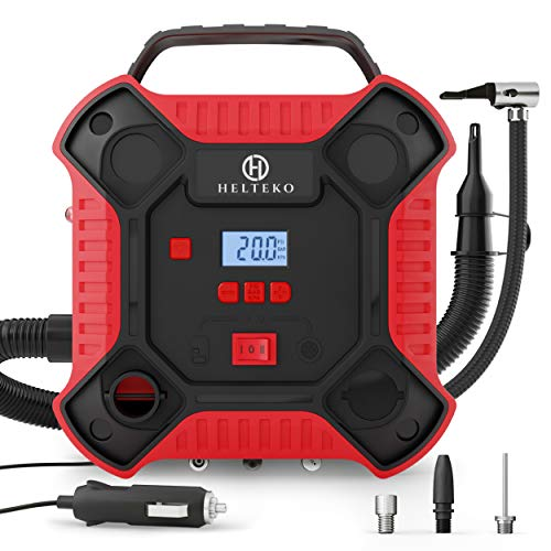 Helteko Air Compressor Tire Inflator - DC 12V Tire Pump for Car Tires with Dual Motors and LED Light - Digital Auto Air Pump with Carrying Case – Portable Air Compressor for Car, Bicycle, Inflatables