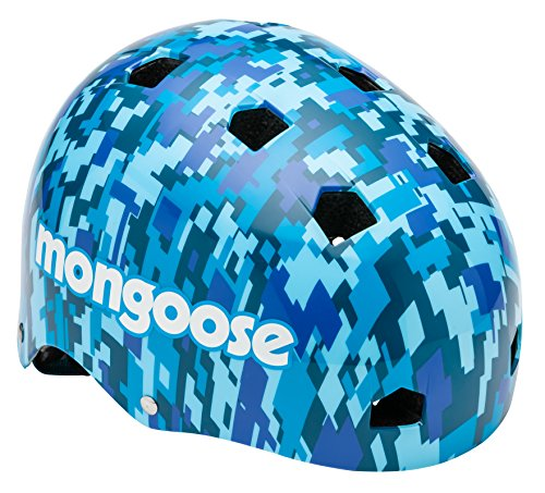 Mongoose BMX Bike Helmet, Multi Sport Kids Helmet, Camouflage/Blue