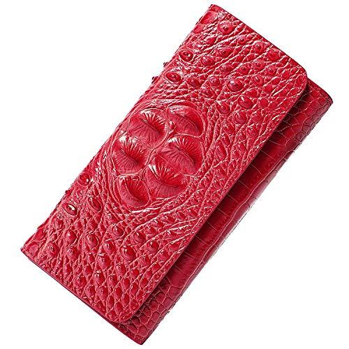 PIJUSHI Women Leather Wallet Embossed Crocodile Clutch Wallet Card Holder Organizer (8013 red)