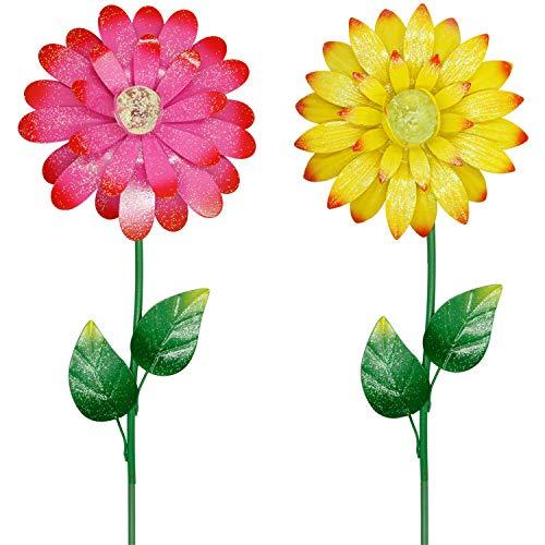 Juegoal 25 Inch Flower Garden Stakes Decor, Shaking Head Metal Outdoor Sunflowers Daisy Glow in Dark Metal Yard Art, Indoor Outdoor Lawn Pathway Patio Ornaments,Set of 2