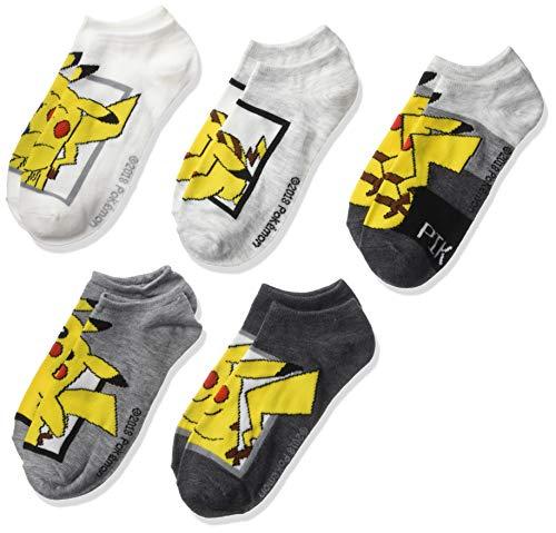 PokÃmon boys Pokemon 5 Pack No Show Casual Sock, Assorted Grey, 11-Sep US