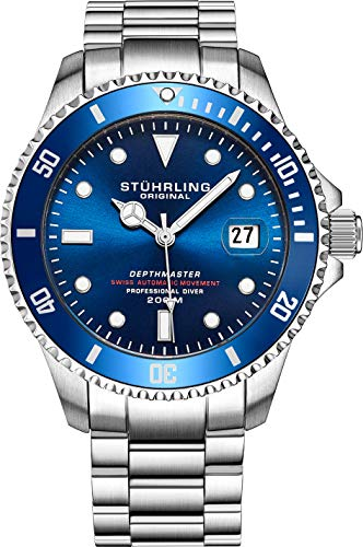 Mens Swiss Automatic Stainless Steel Professional'DEPTHMASTER' Dive Watch, 200 Meters Water Resistant, Brushed and Beveled Bracelet with Divers Safety Clasp and Screw Down Crown (Blue)