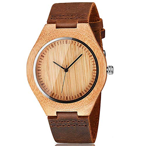 CUCOL Mens Wooden Watches Brown Cowhide Leather Strap Casual Watch for Groomsmen Gift with Box