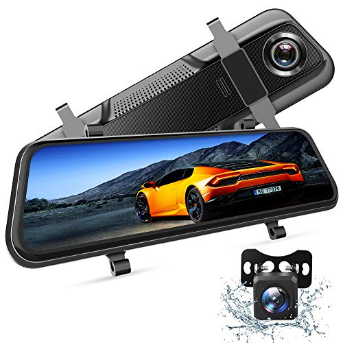 VanTop H609 Dual 1080P Mirror Dash Cam with 10' IPS Full Touch Screen w/Waterproof Backup Rear View Camera, Night Vision, Parking Monitor, Loop Recording