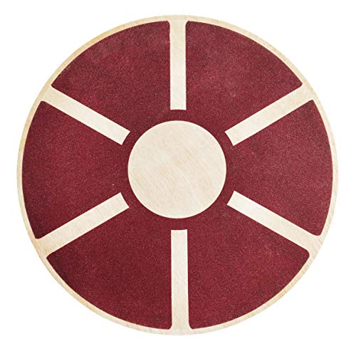 BalanceFrom Non-Slip Wooden Wobble Balance Board Core Trainer 15.55-inch Diameter with 360 Rotation for Stability Training (Burgundy)