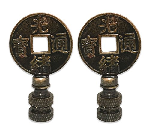 Royal Designs Asian Symbols 2.25' Lamp Finial for Lamp Shade, Antique Brass - Set of 2