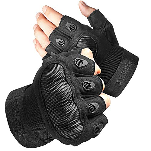 FREETOO Fingerless Tactical Gloves Military Men Airsoft Gloves Breathable Combat Motorcycle Gloves with Knuckle Protaction