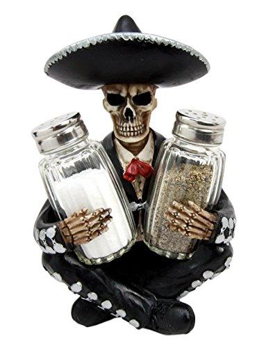 Ebros Day of The Dead Skeleton Mariachi Wedding Singer Salt Pepper Shakers Holder Figurine 7' H As Dias De Muertos Sugar Skull Themed Decor Statue Skeletons Skulls Halloween Ossuary Gothic Spooky