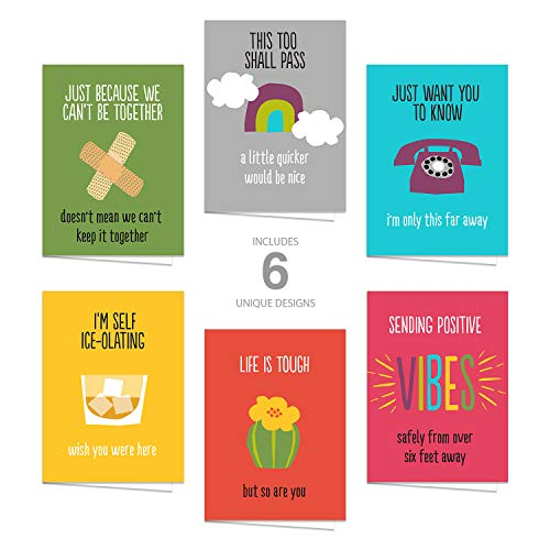 Motivational Quarantine Greeting Cards/Set of 12 5'x7' Day Brightening Cards/Bright Encouraging Cards for COVID-19