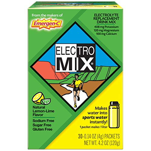 Emergen-C ElectroMIX Electrolyte Replacement Powder (30 Count, Natural Lemon Lime Flavor, 1 Month Supply), With Calcium, Potassium And  Magnesium Drink Mix