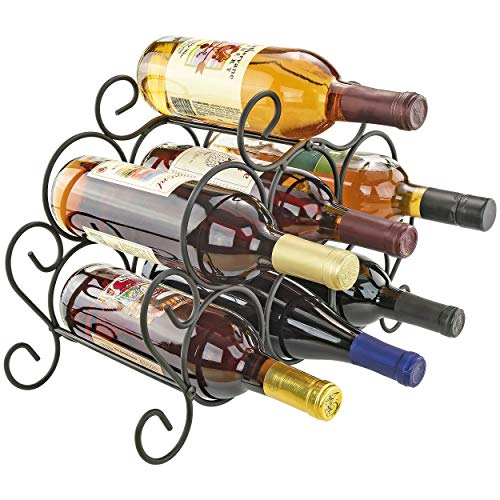 Southern Homewares 7-Bottle Minuet Free Standing Wine Rack w/Scroll Design for Kitchen Organization of Wine Spirit Bottles