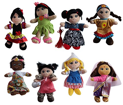 Snuggle Stuffs Soft Plush Around The World 8' Dolls, 8 Pack
