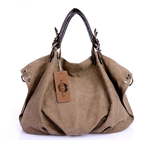 KISS GOLD(TM) European Style Canvas Large Tote/Travel Bag/Duffle Bag/Shopping Bag Oversized Bag (Coffee)