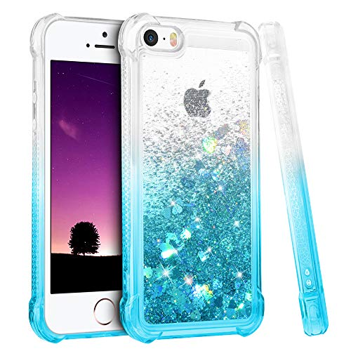 Ruky iPhone 5 5S Case, iPhone SE Case (2016), Gradient Quicksand Series Glitter Bling Flowing Liquid Floating TPU Bumper Cushion Girls Women Cute Case for iPhone 5 5S SE (Gradient Teal)